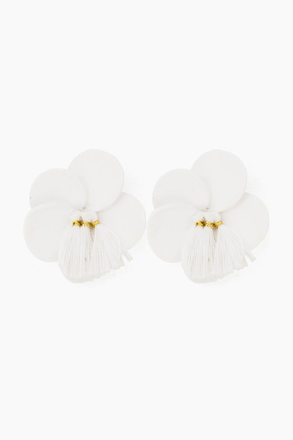 white floral stud earrings