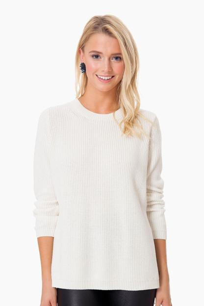 white cap emma crewneck shaker sweater
