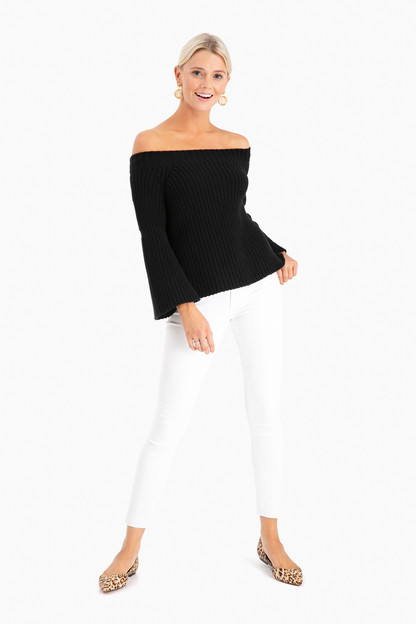 tulip off the shoulder shaker sweater