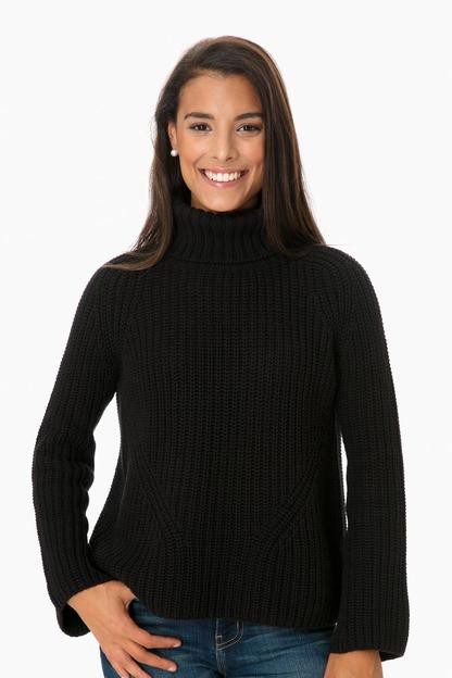bell sleeve shaker turtleneck