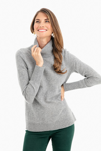 Gray Heather Essential Cashmere Turtleneck Sweater
