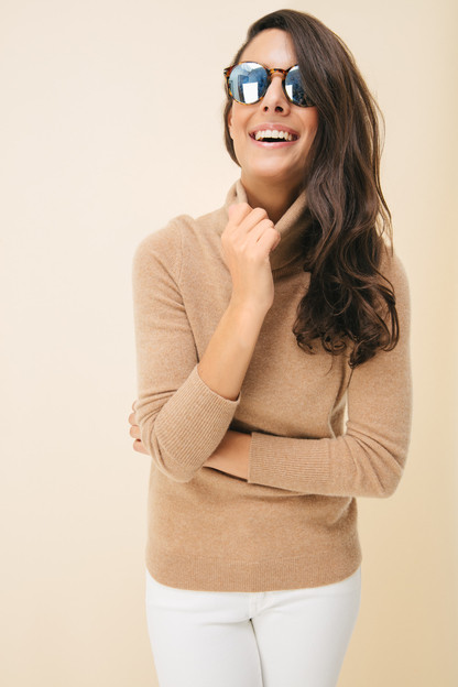 Camel Heather Essential Cashmere Turtleneck Sweater