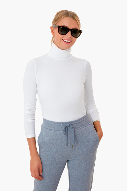 white scrunchneck turtleneck tee