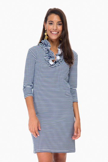 navy striped 3/4 sleeve skipper dress