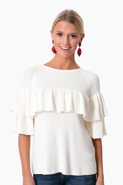 marshmallow ribbed ruffle sweater