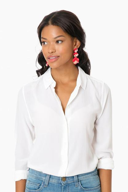 Bright White Silk Essential Button Down