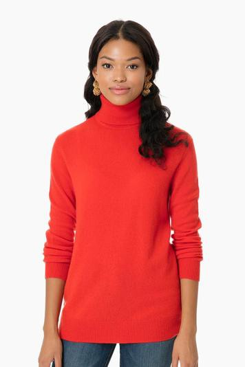 volcanic red cashmere oscar turtleneck