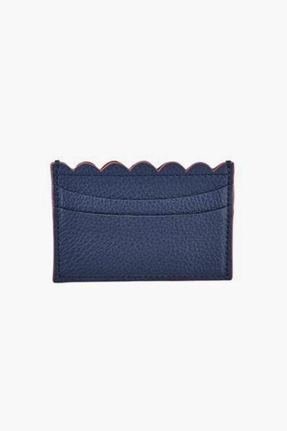navy waverly credit card case