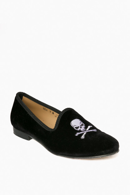 Black Velvet Slipper with Skull and Bone