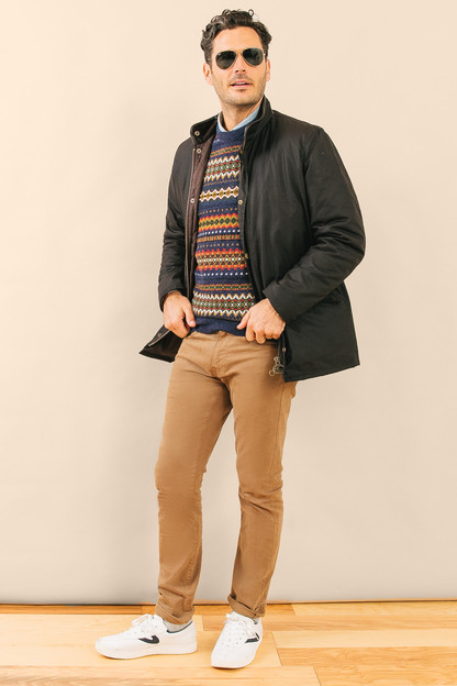 navy marl case fair isle crew