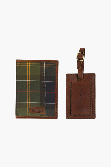 barbour tartan passport cover & luggage tag gift set