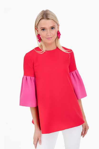 Red Color Block Anderson Swing Top