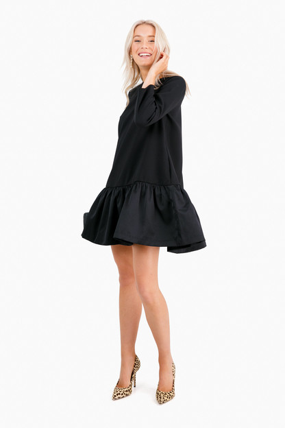 black satin sutton peplum dress