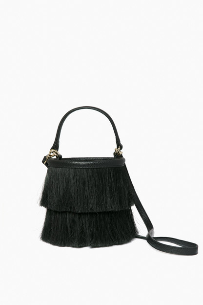 black horse hair bucket bag