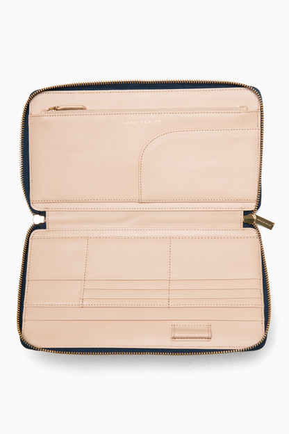 navy saffiano leather the travel wallet