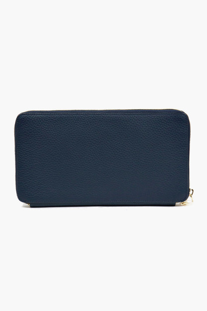 navy pebble leather travel wallet