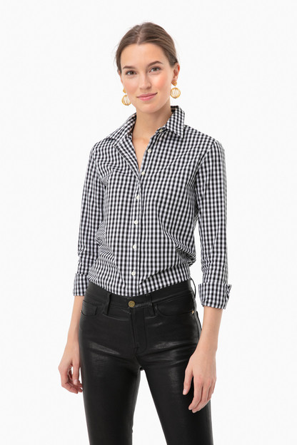black gingham long sleeve icon shirt