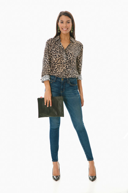 leopard crepe essential button down