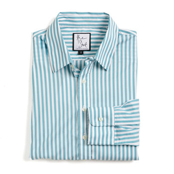 teal wide stripe essential button down