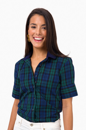 blackwatch plaid peter pan collar button down