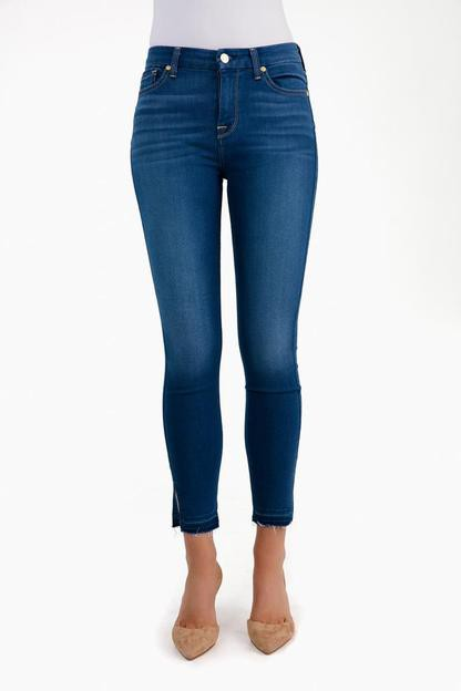 manhattan b(air) high waist ankle skinny jean with released side hem splits