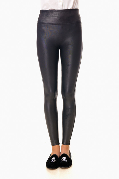 black ready to wow faux leather leggings