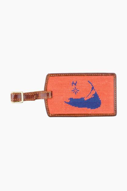 nantucket needlepoint luggage tag