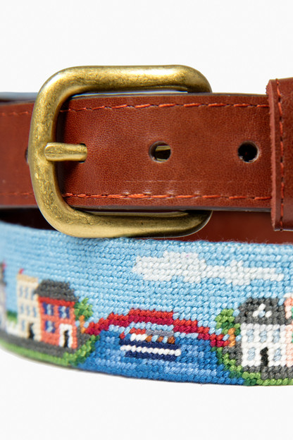 exclusive georgetown scene needlepoint belt