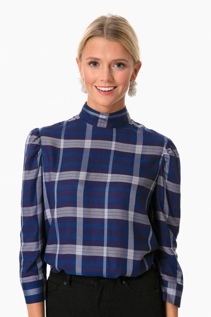 blue plaid millicent blouse
