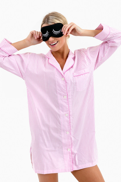 pink striped night shirt