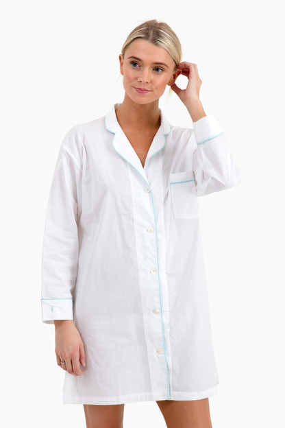 Classic Night Shirt White with Seaglass Piping