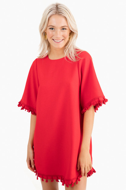 Red Valentina Tassel Dress