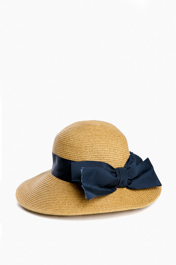 navy packable wide bow sunhat