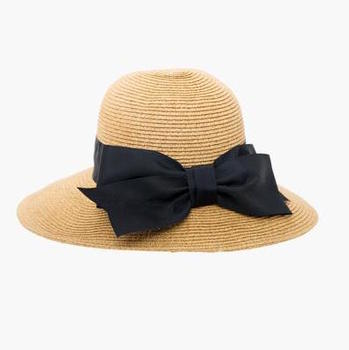 black packable wide bow sunhat