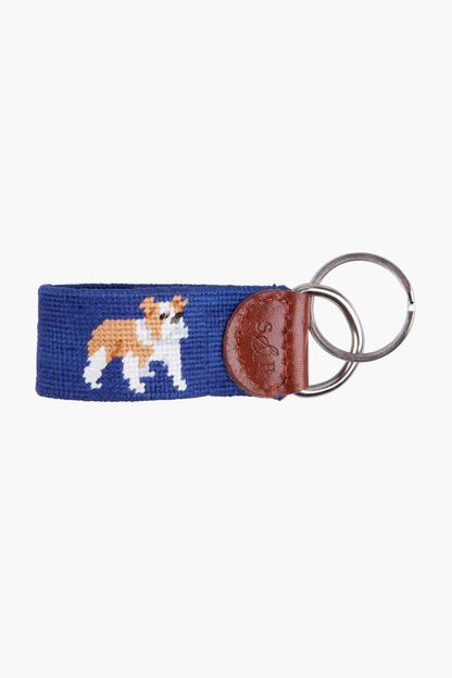 exclusive bulldog needlepoint key fob