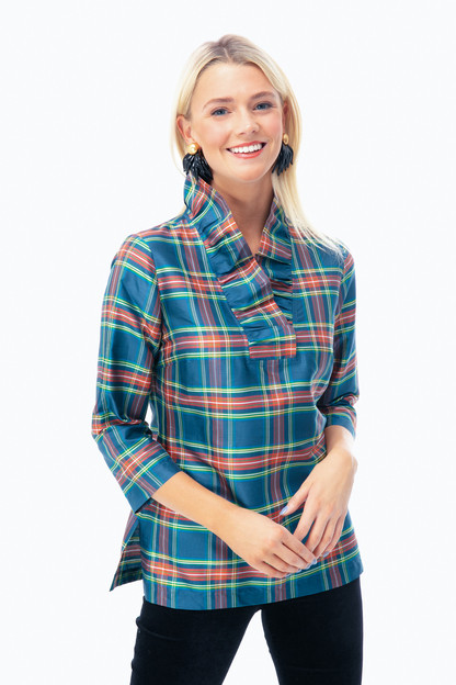 steward plaid silk ruffle tunic