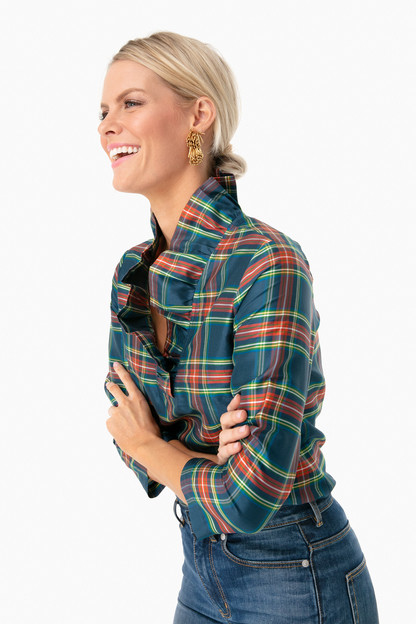 stewart plaid silk ruffle tunic