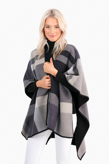fairmont reversible plaid poncho