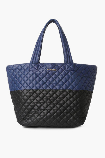 Navy and Black Color Block Large Metro Tote