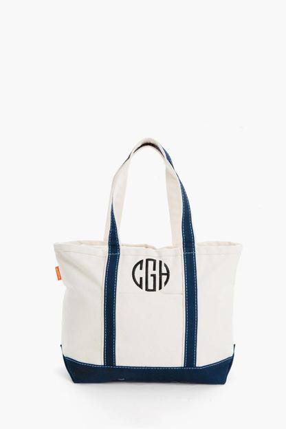 navy monogrammed medium boat tote