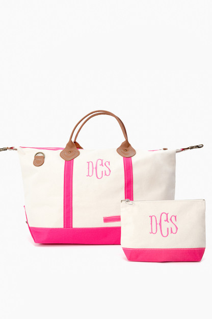 pink monogrammed canvas make-up bag