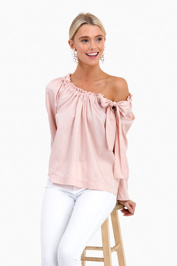 rose smoke sateen bow top