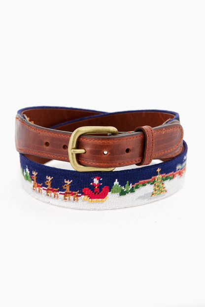 North Pole Needlepoint Belt