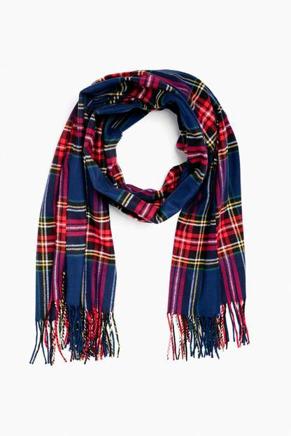 Navy Plaid Jackson Scarf