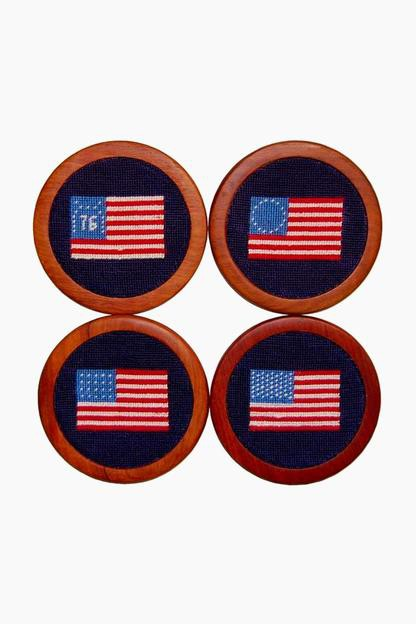 american flag needlepoint coaster set