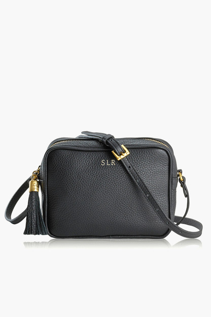 black pebble leather madison crossbody
