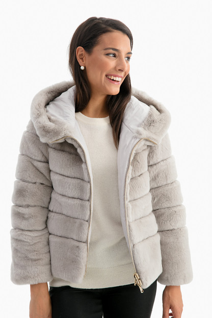 gray hooded fur jacket