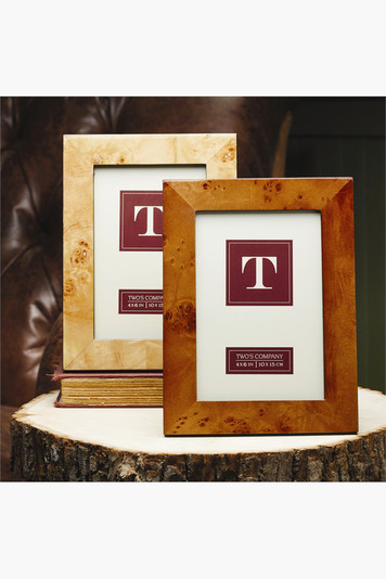 light brown burled wood picture frame