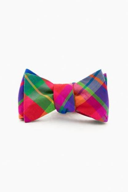 confetti plaid silk bow tie