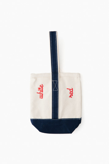 navy embroidered wine tote